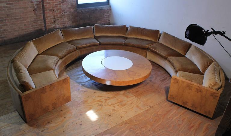 vintage milo baughman burled curve circle sofa and coffee table at