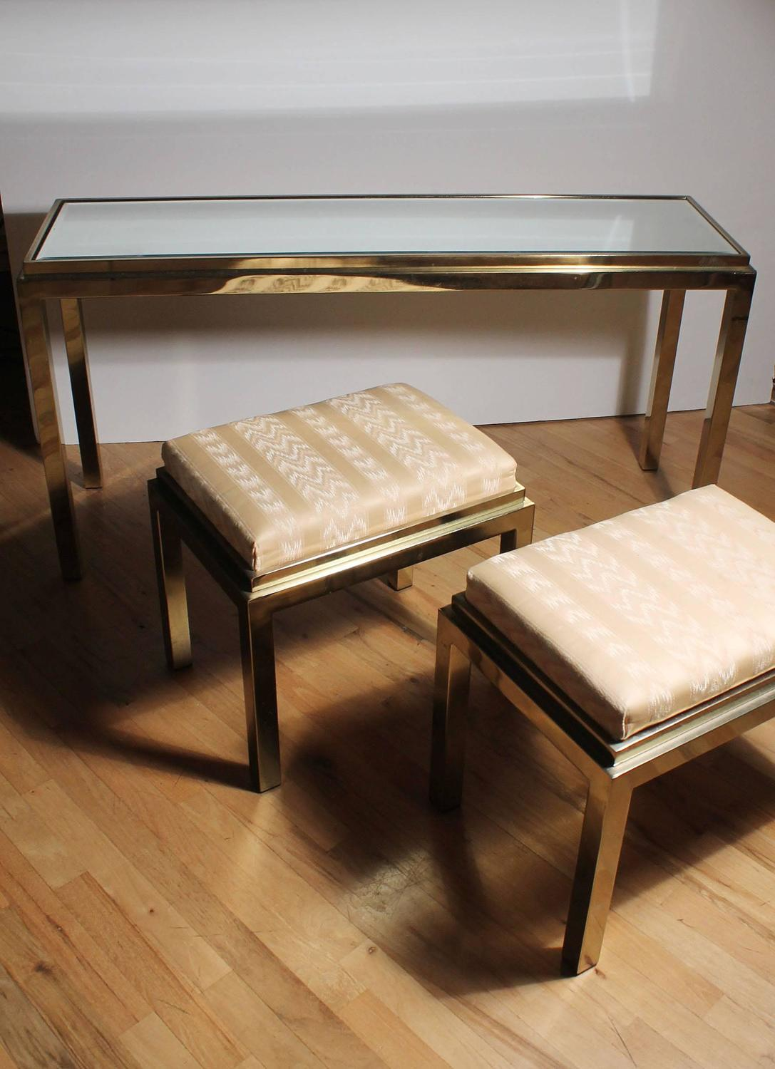 Sofa Table With Stools ~ Brass console sofa table with matching stools in style of
