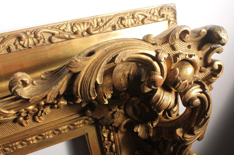 Antique italian gilt 19th century picture frame or mirror for Floor mirror italian baroque rococo style