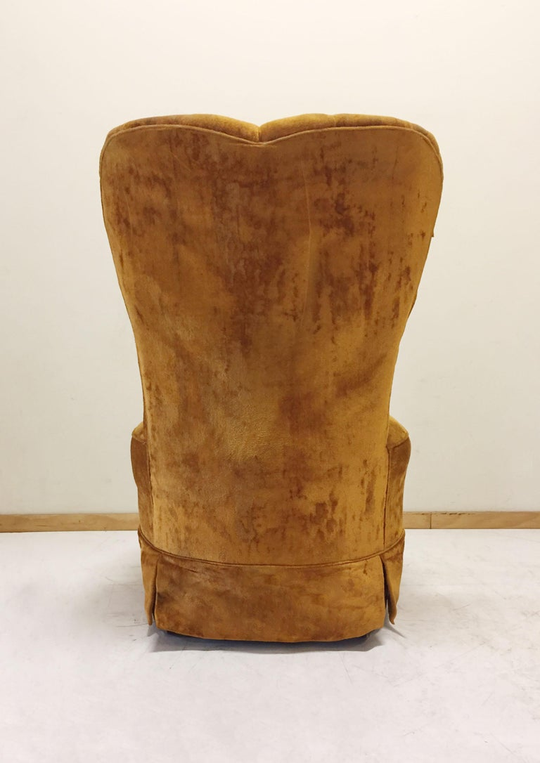 American Pair of Hollywood Regency Barrel Seat High Back Designer 1940s Style Chairs For Sale