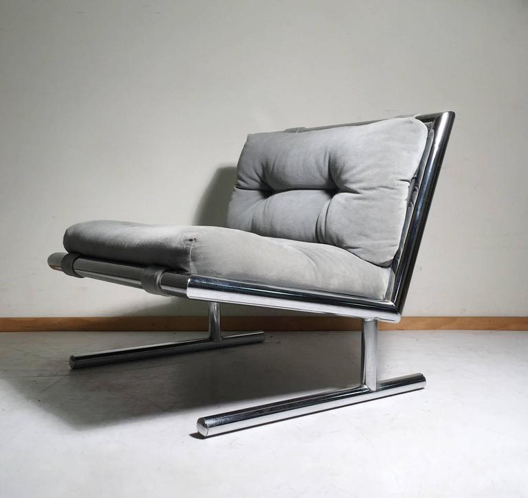 Pair Of Vintage Sled Base Chrome Lounges By Arthur Umanoff
