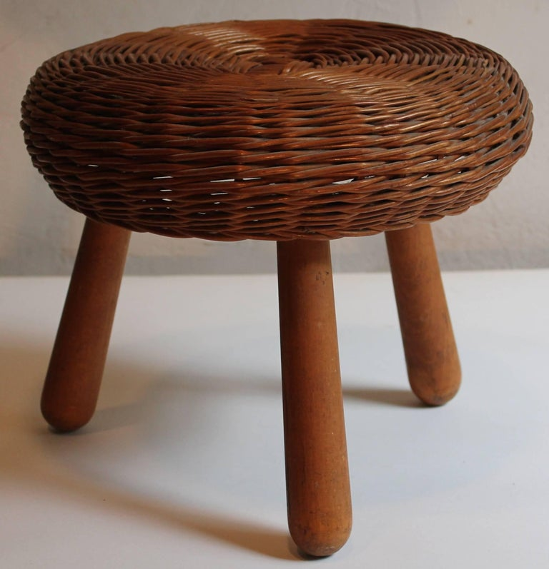 Two Tony Paul Rattan And Wood Foot Stools At 1stdibs