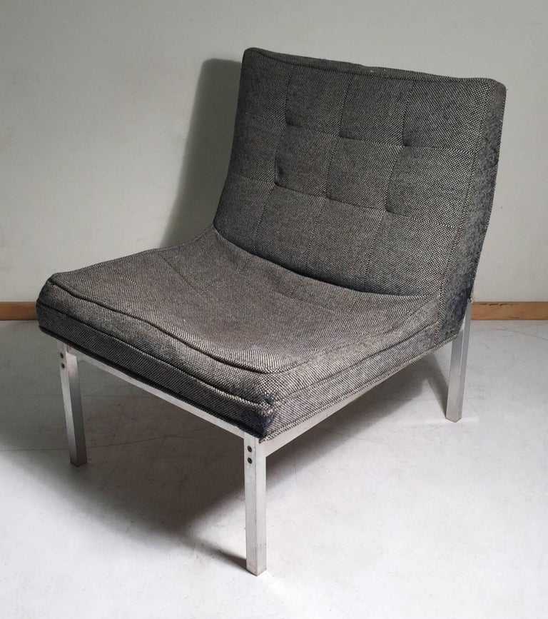 20th Century Florence Knoll Style Aluminum Lounge Chair For Sale