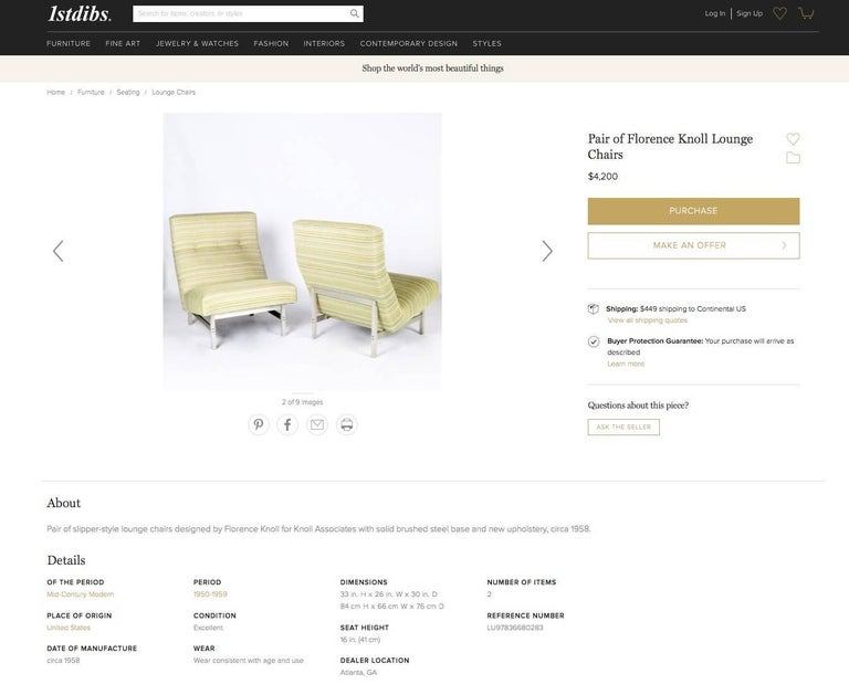 Florence Knoll Style Aluminum Lounge Chair For Sale 1