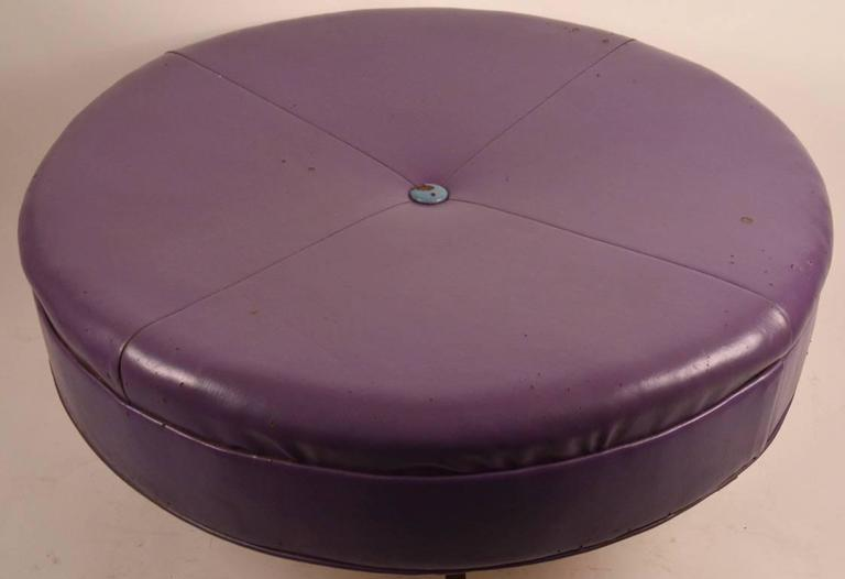 Large Round Rolling Pouf Stool And Ottoman At 1stdibs