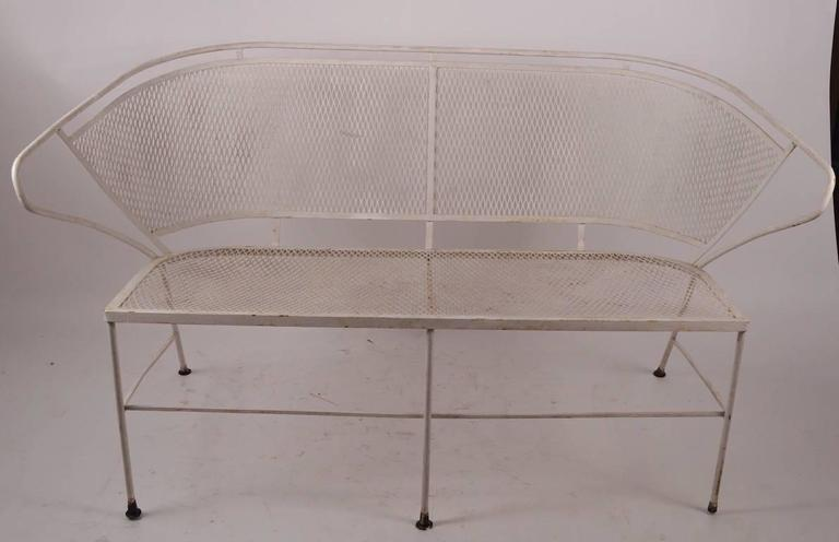 Stylish Metal Mesh Settee Attributed To Woodard For Sale