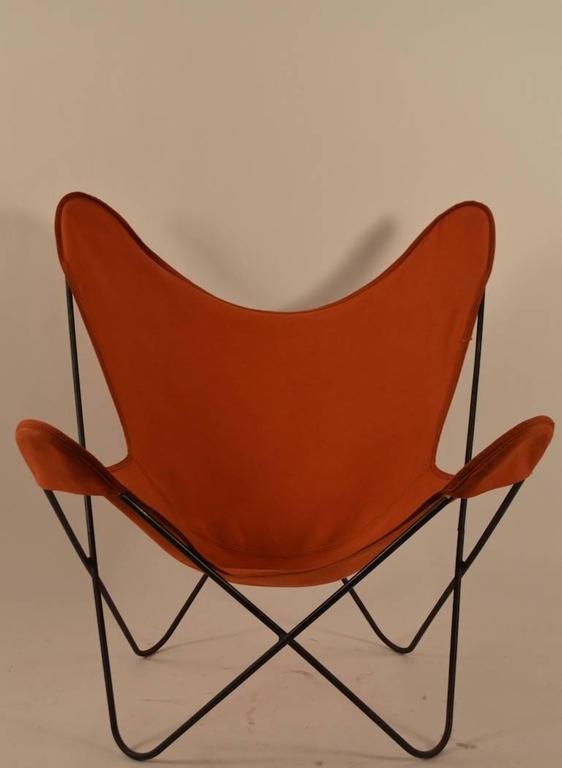 Hip Sling Chair With Vintage Orange Canvas Sling Seat, On Wrought Iron  Frame.