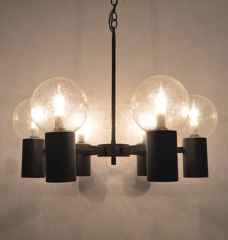 Six light spoke and can lightolier chandelier for sale at 1stdibs - Can light chandelier ...