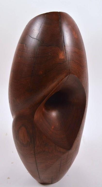 American Mid-Century Carved Solid  Rosewood Organic Sculpture For Sale