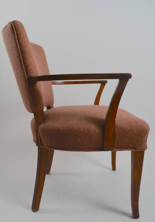Pair of wood frame armchairs with upholstered seats and backs. The wood frames show cosmetic wear, the fabric shows minor cosmetic wear as well. These could be cleaned up and used as is or restored to be slick and polished if you choose. Arm height