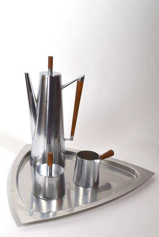 Stylish Stainless Steel Coffee Set Made In Italy For Kalmar With Wood