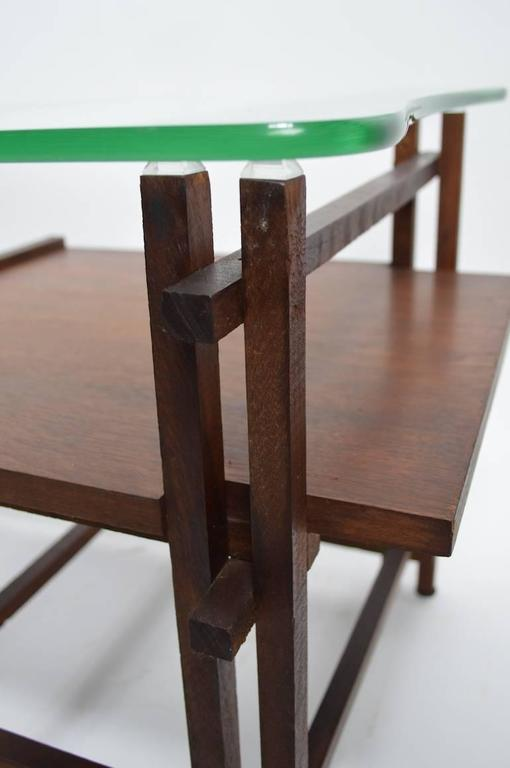 Scandinavian Modern Pair of Architectural Glass and Wood Tables After Henning Norgaard for Komfort For Sale