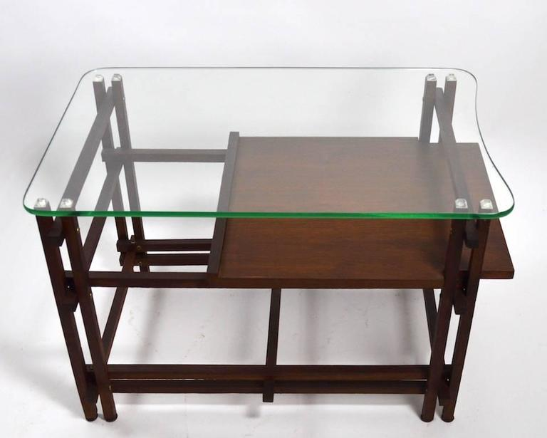 American Pair of Architectural Glass and Wood Tables After Henning Norgaard for Komfort For Sale