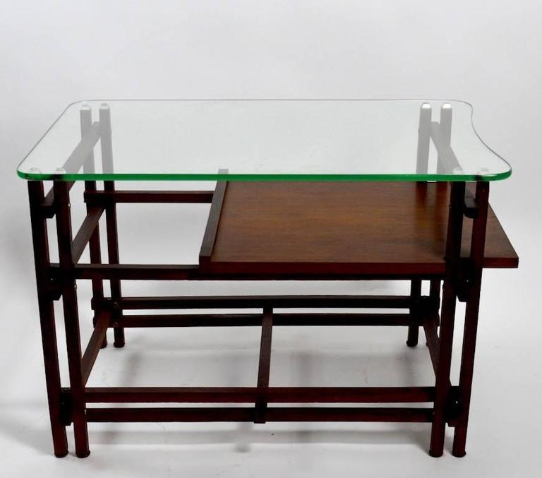 Pair of Architectural Glass and Wood Tables After Henning Norgaard for Komfort In Good Condition For Sale In New York, NY