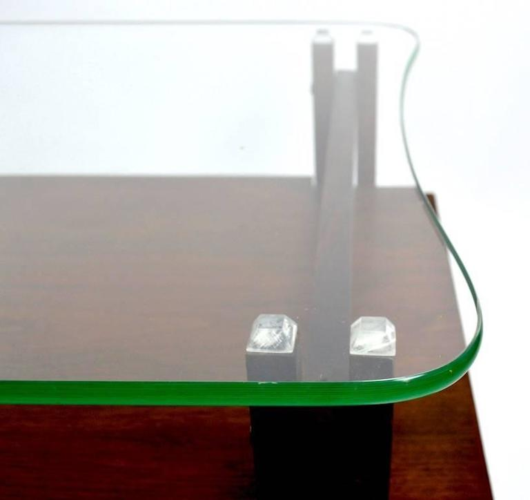 Mid-20th Century Pair of Architectural Glass and Wood Tables After Henning Norgaard for Komfort For Sale