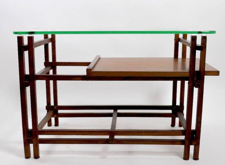 Pair of Architectural Glass and Wood Tables After Henning Norgaard for Komfort For Sale 1