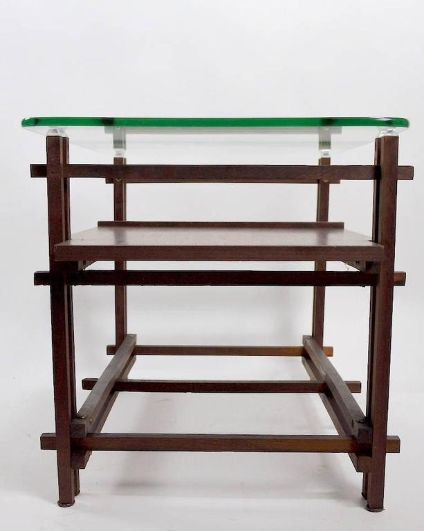Pair of Architectural Glass and Wood Tables After Henning Norgaard for Komfort For Sale 2