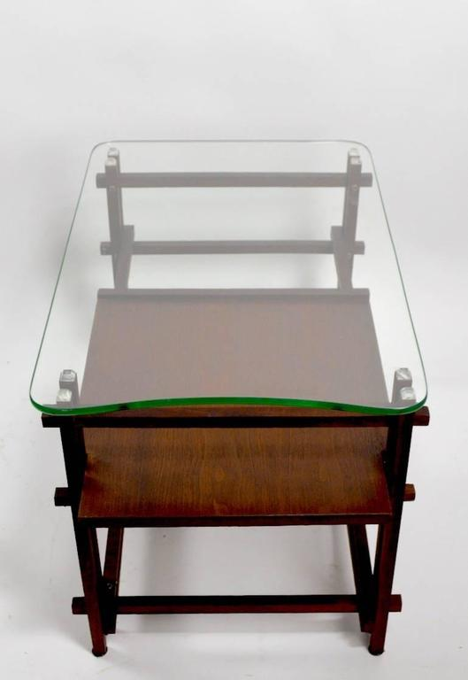 Pair of Architectural Glass and Wood Tables After Henning Norgaard for Komfort For Sale 3