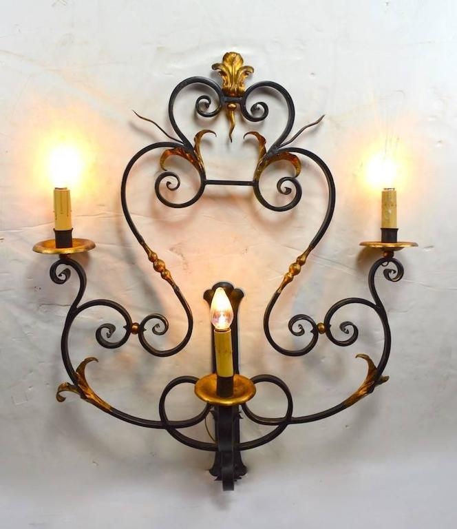 Spanish Colonial Large Paladio Wrought Iron and Gilt Italian or Spanish Style Sconce For Sale