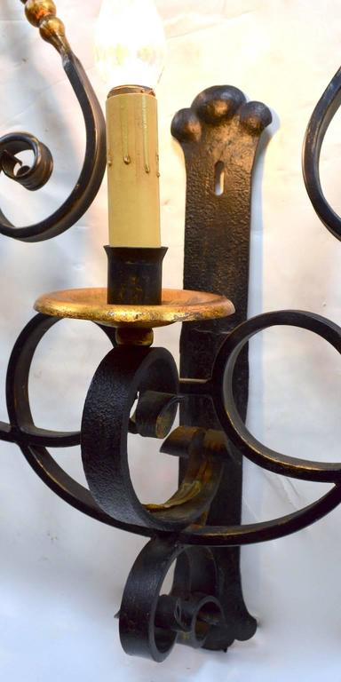 Large Paladio Wrought Iron and Gilt Italian or Spanish Style Sconce In Good Condition For Sale In New York, NY