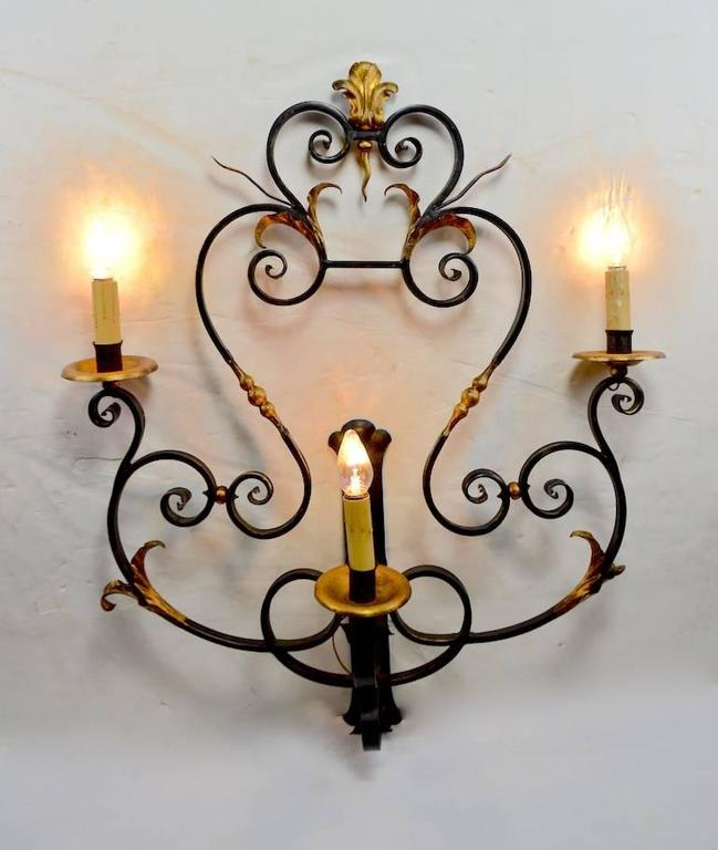 20th Century Large Paladio Wrought Iron and Gilt Italian or Spanish Style Sconce For Sale