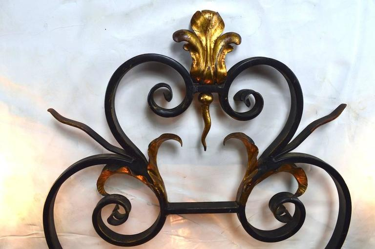 Large Paladio Wrought Iron and Gilt Italian or Spanish Style Sconce For Sale 2