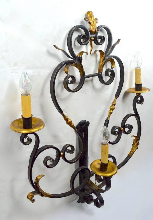 Large Paladio Wrought Iron and Gilt Italian or Spanish Style Sconce For Sale 5