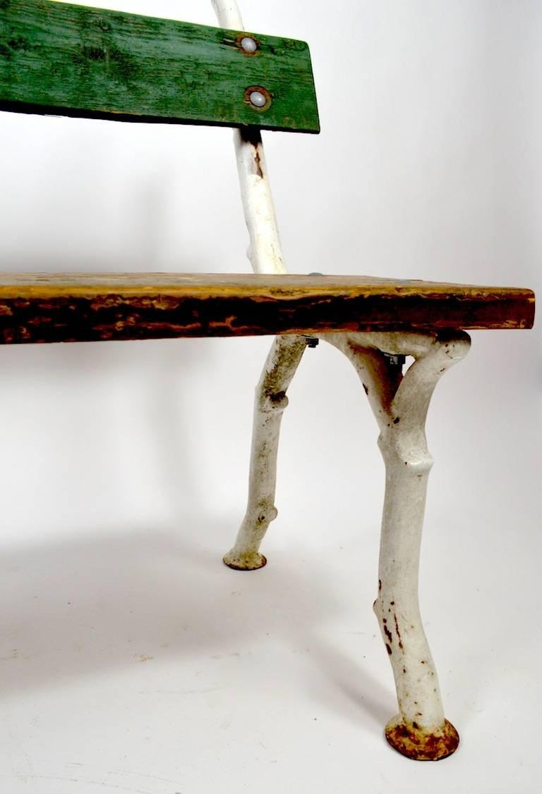 Rustic Iron And Wood Garden Bench At 1stdibs