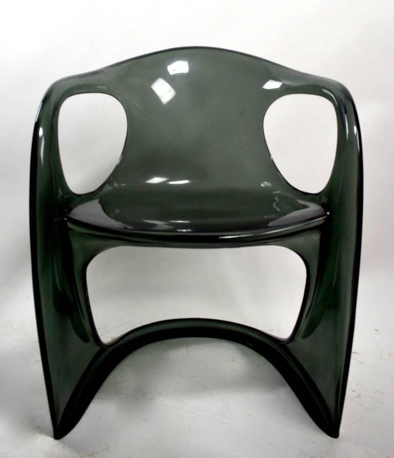 Smoked Lucite Casalino Chair by Alexander Begge In Good Condition In New York, NY