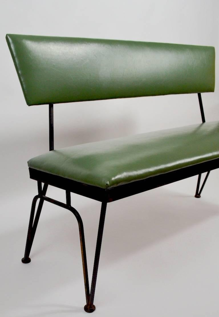 Mid Century Bench Wrought Iron Frame Vinyl Upholstery For