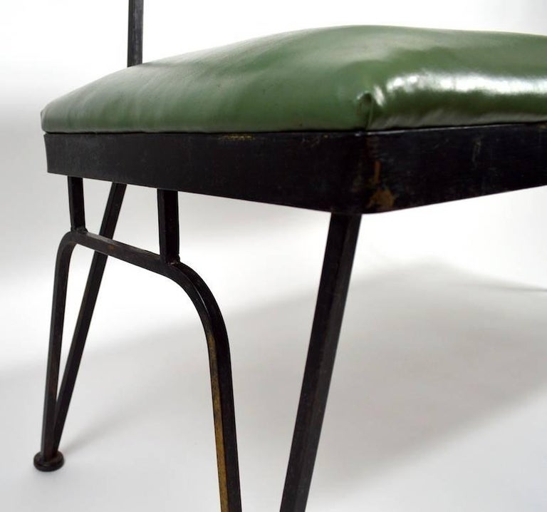 Mid Century Bench Wrought Iron Frame Vinyl Upholstery At
