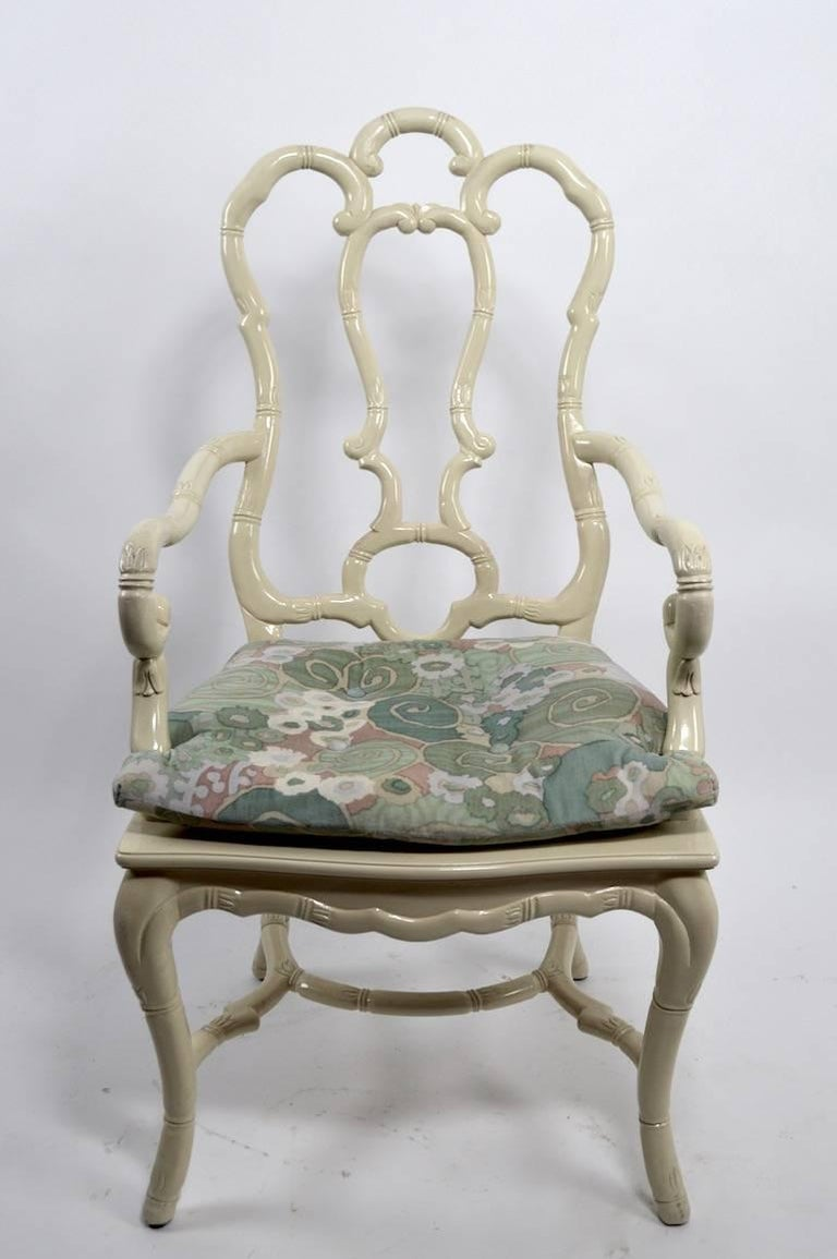 Hollywood Regency Set of Six White Lacquer Queen Anne Dining Chairs For Sale