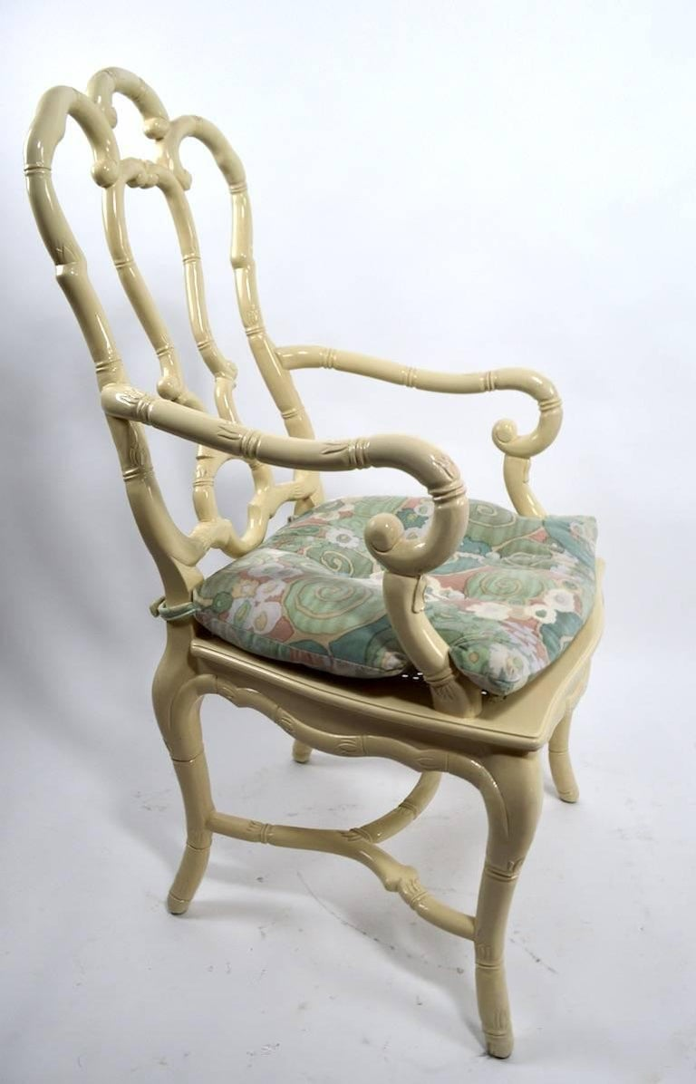 French Set of Six White Lacquer Queen Anne Dining Chairs For Sale