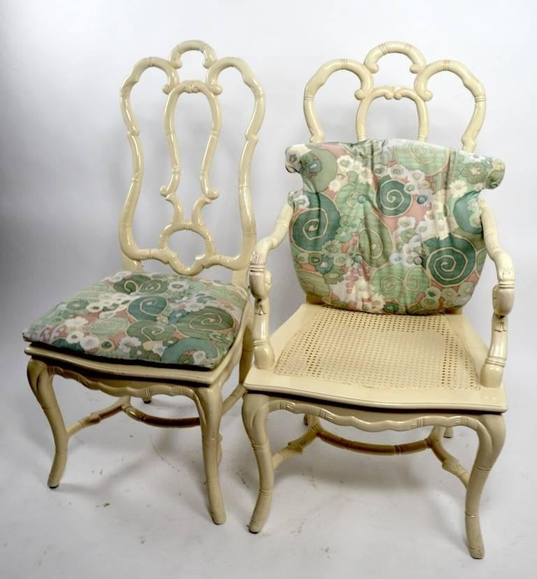 Set of Six White Lacquer Queen Anne Dining Chairs For Sale 1