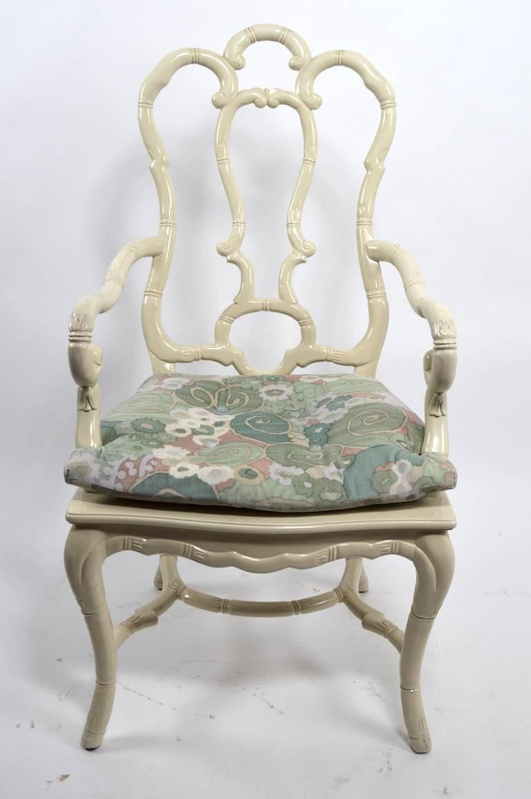 Set of Six White Lacquer Queen Anne Dining Chairs For Sale 2
