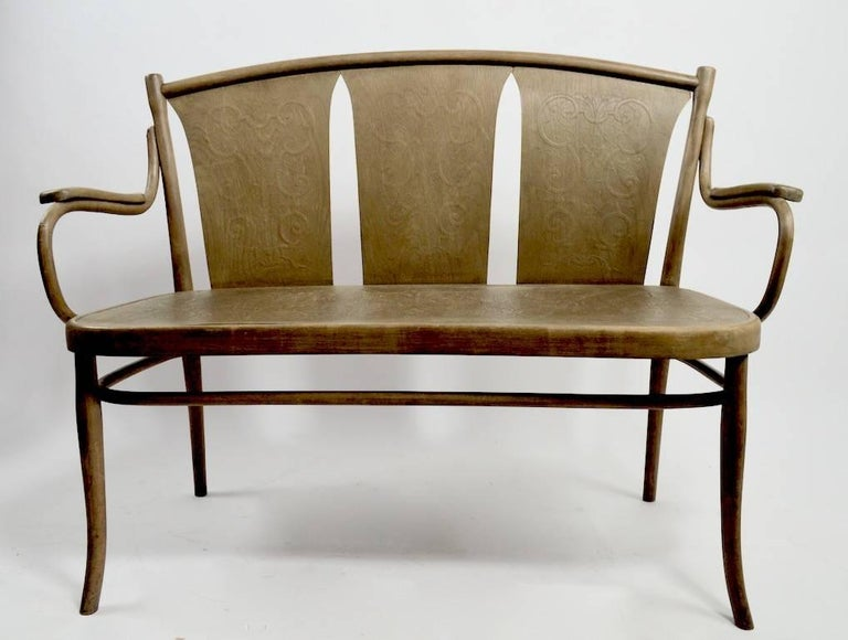 Bentwood Bench by Thonet In Fair Condition For Sale In New York, NY