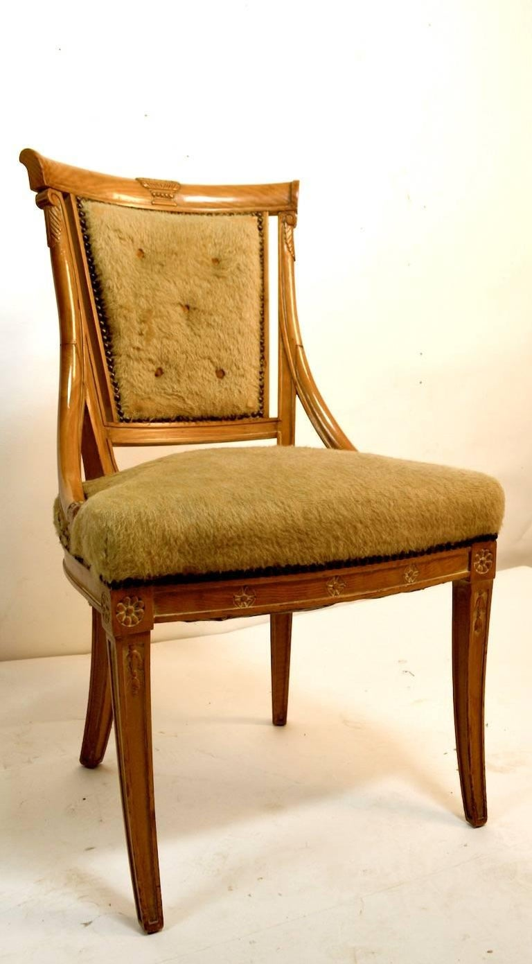 Upholstery Set of Four Grosfeld House Chairs in the Hollywood Regency Style For Sale