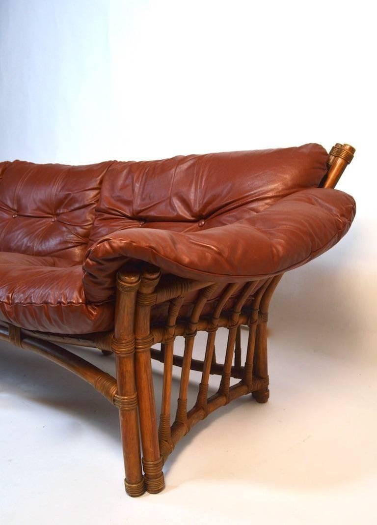 Incredible Leather Ash And Rattan Sofa For Sale At 1stdibs