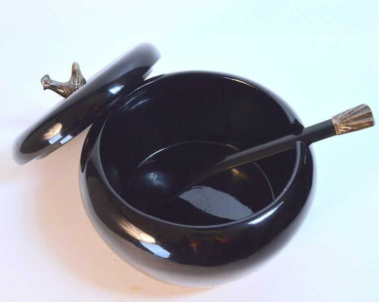 Danish Lacquered Serving Bowl with Bird Finial For Sale