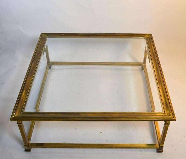 Square Brass And Glass Mastercraft Coffee Table At 1stdibs