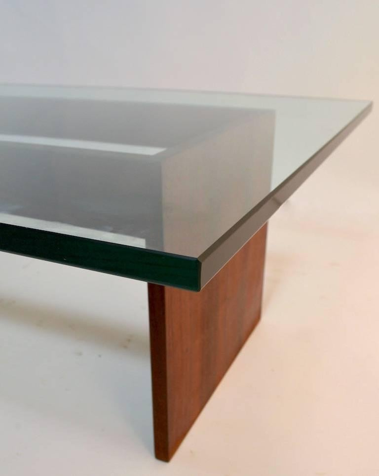 Custom Minimalist Wood And Glass Coffee Table For Sale At 1stdibs