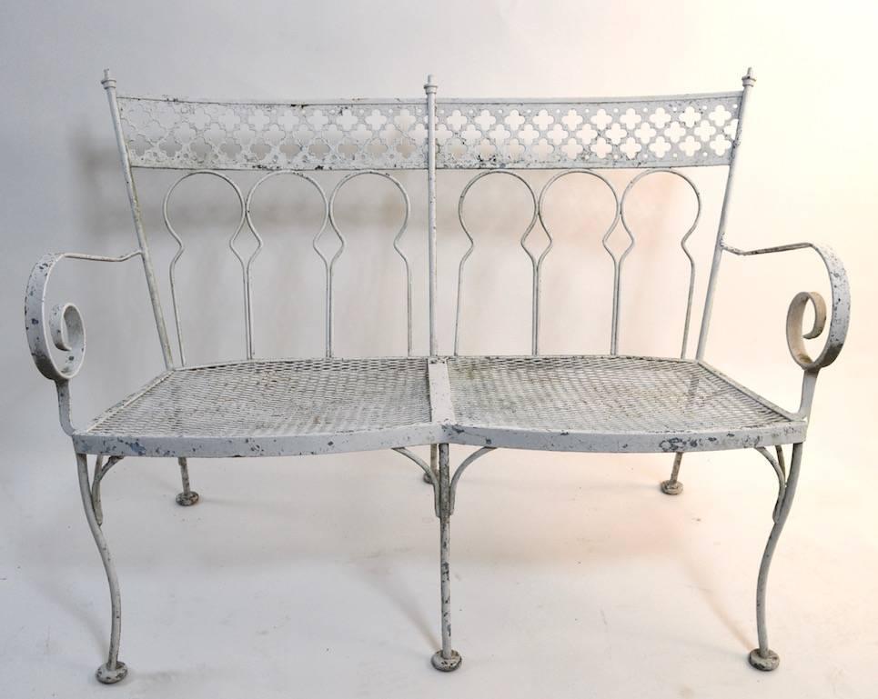 Nice Two Seat Wrought Iron Garden Bench. Quatrefoil Motif Backrest, Scroll  Form Armrests