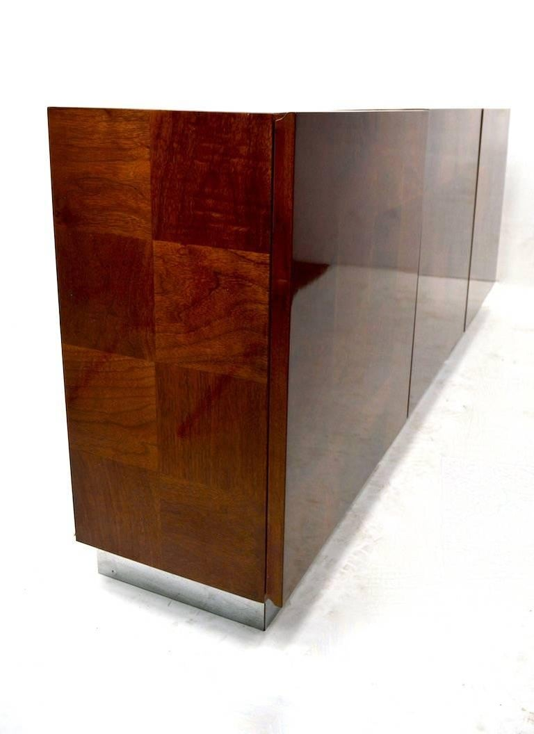 Wood Baughman Credenza Server Sideboard Patchwork Veneer on Bright Chrome Plinth  For Sale