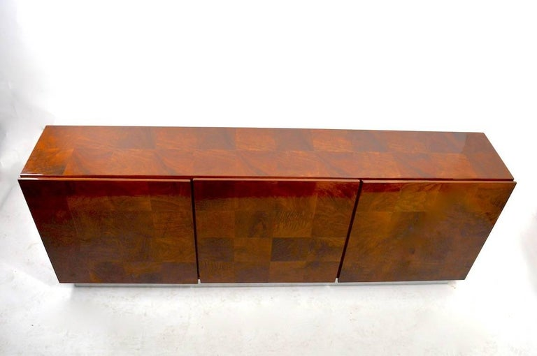 20th Century Baughman Credenza Server Sideboard Patchwork Veneer on Bright Chrome Plinth  For Sale