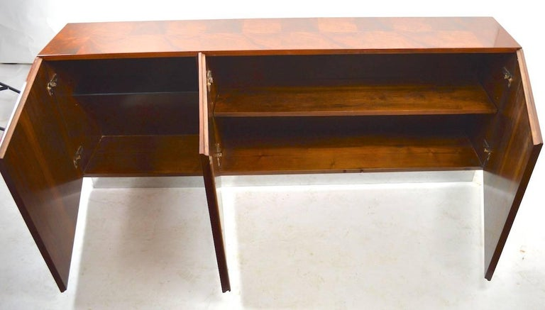 Mid-Century Modern Baughman Credenza Server Sideboard Patchwork Veneer on Bright Chrome Plinth  For Sale