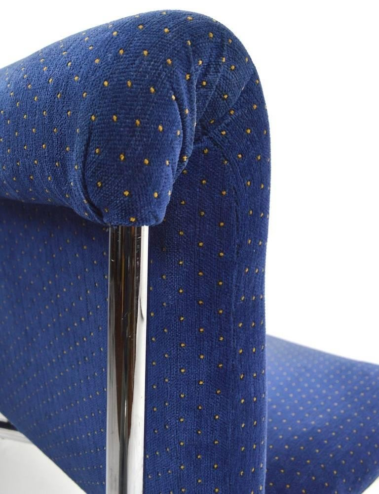 Upholstery Set of Four Chrome Dining Chairs For Sale