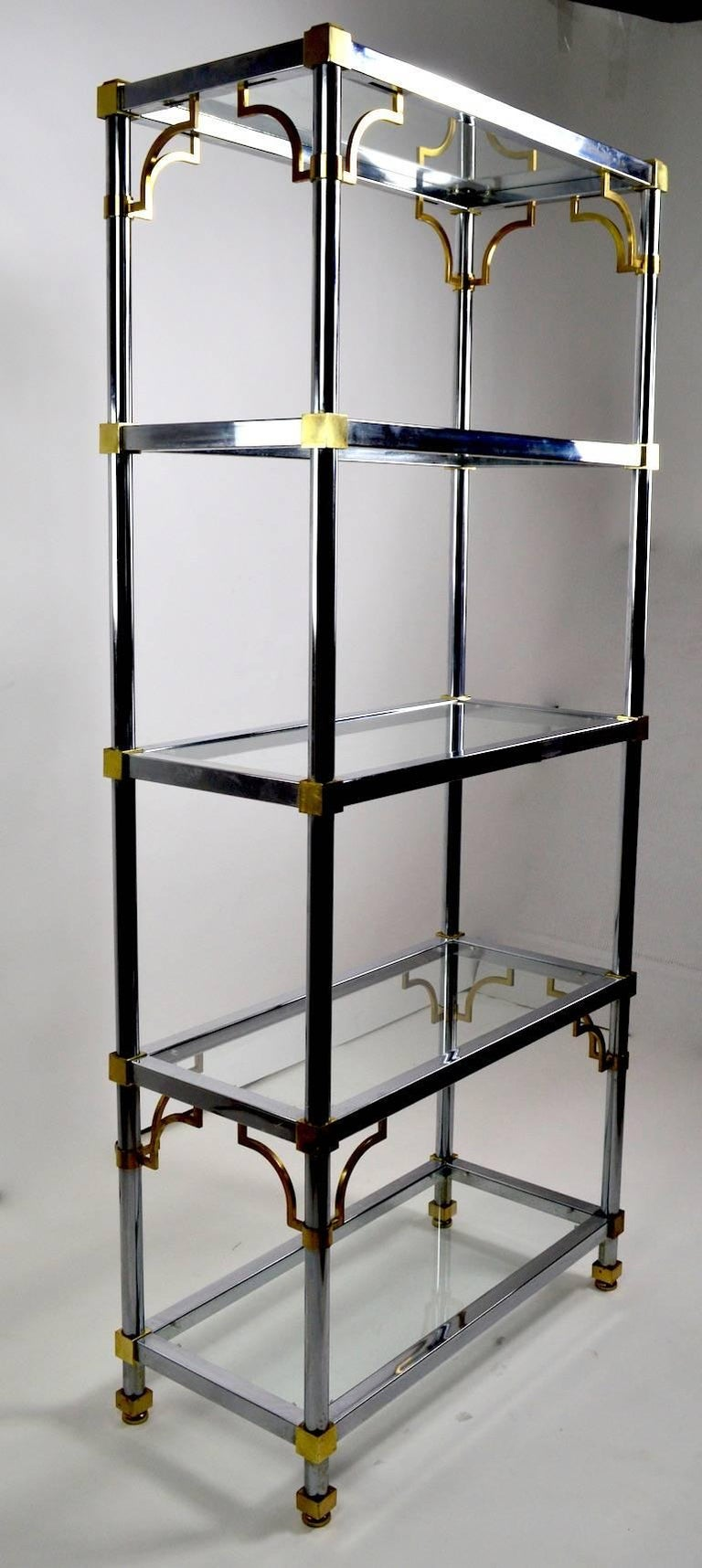 pair of chrome and brass tag res after maison jansen for sale at 1stdibs. Black Bedroom Furniture Sets. Home Design Ideas