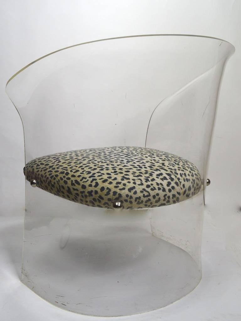 20th Century Lucite Tub Chair with Cheetah Print Fabric Upholstery For Sale