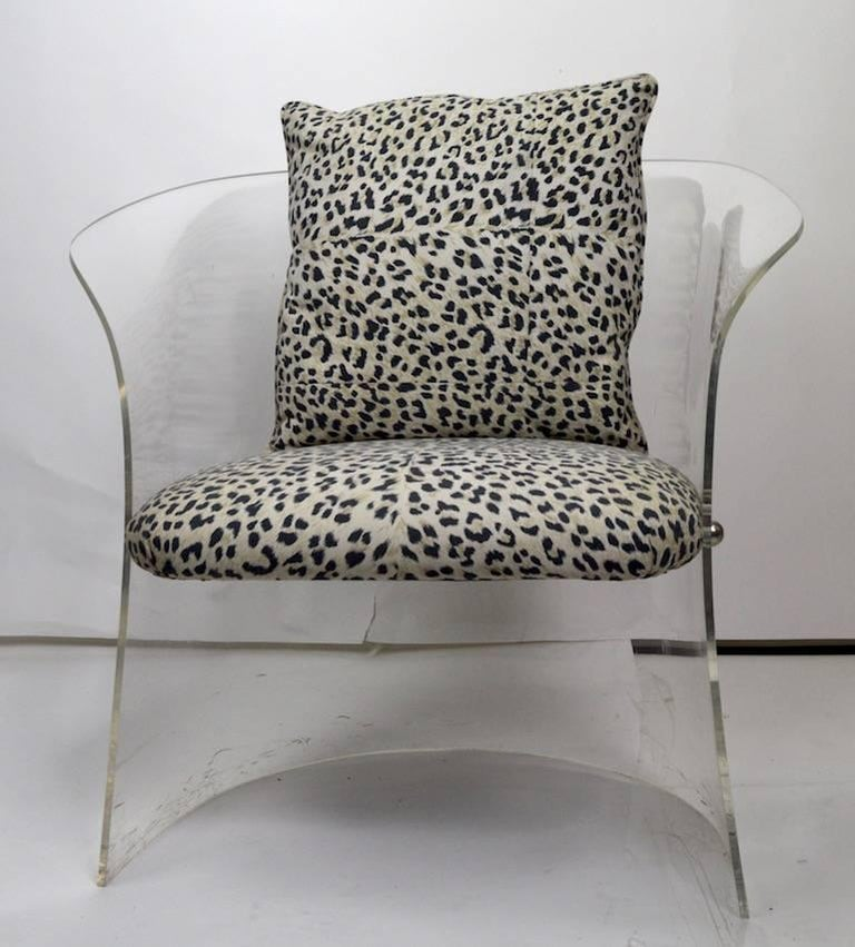 Mid-Century Modern Lucite Tub Chair with Cheetah Print Fabric Upholstery For Sale