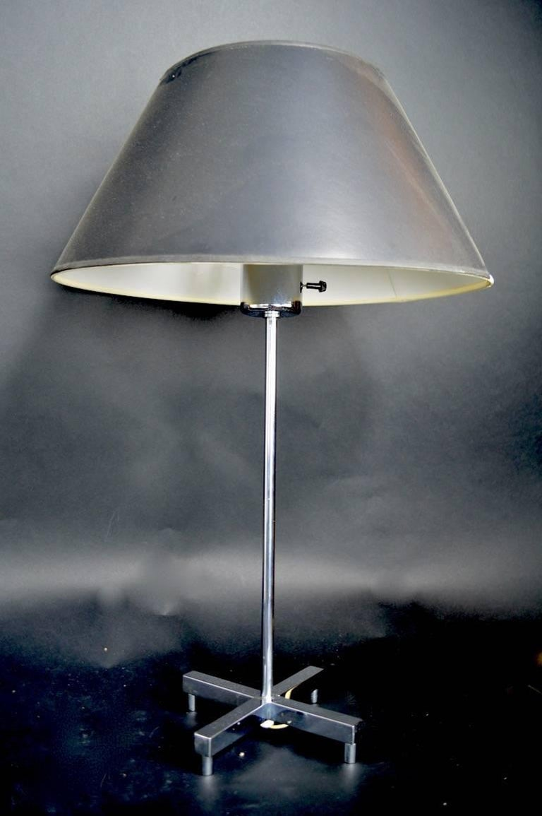Modernist chrome X-base table lamp, attributed to Sonneman. Vintage shade not included.